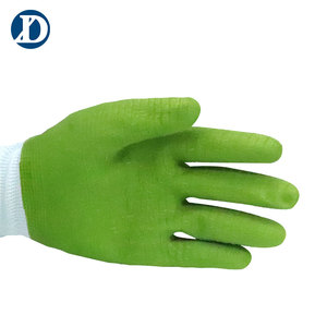 DXD 13 Gauge Green Full Latex Coated Work Hand Working Gloves Winter