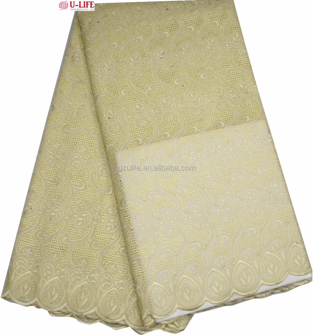 African Embroidery Style Cream Cotton Dry Lace Fabric for Men (BG083)