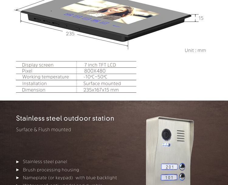 Multiple intercom up to 2 outdoor station can be connected with 4 indoor monitors video door phone doorbell system kit for villa
