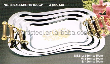 Wholesale stainless steel/chrome/silver plated serving Tray with handle
