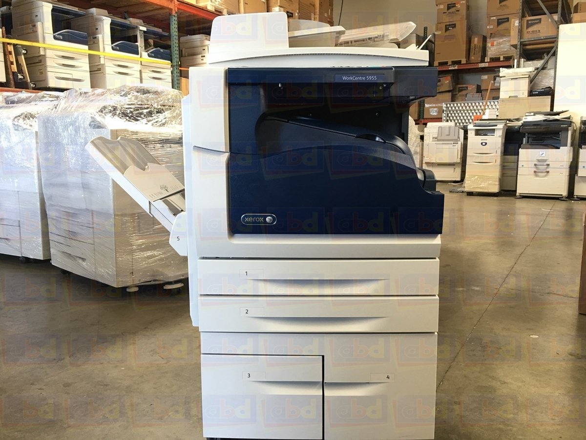 Refurbished Xerox WorkCentre 5955 Tabloid-size Black-and-white Multifunction Printer - Copy, Print, Scan, Center Offsetting Tray, 2 Trays, High Capacity Tandem Tray