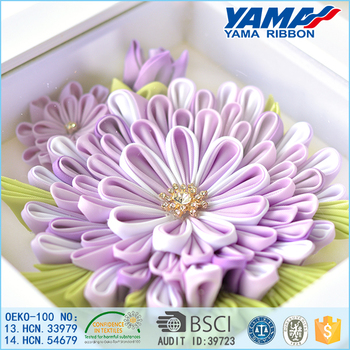 Light purple delicate artificial flower satin decorative made by ribbon handmade flower