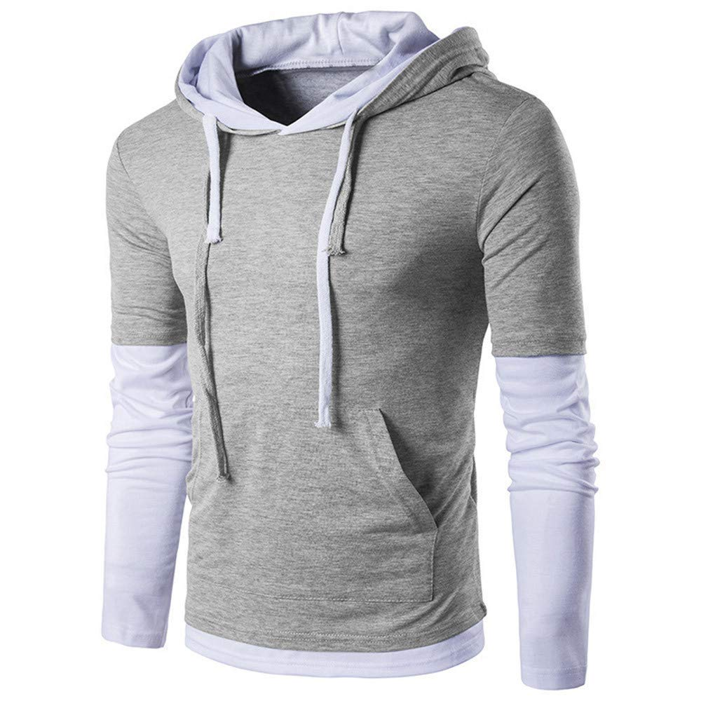 BCDshop Mens Sweatshirts Pullover Sport Hoodies Outwear Splice Long Sleeve Shirt with Pocket