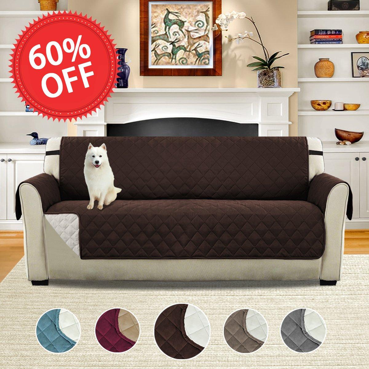 Buy Palm Leaf Slip Resistent Furniture Cover Brown Large Sofa
