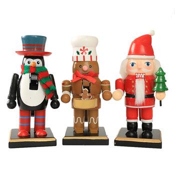 New Christmas Ornaments Wooden Nutcracker Old Man Snowman Penguin Cook Doll Desktop Decoration Buy Wooden Nutcracker New Christmas Ornaments Doll
