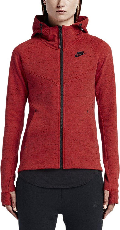 13a19140e61d Get Quotations · Nike Women s Tech Fleece Windrunner Red   Black Long  Sleeve Zip Up Hoodie
