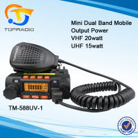 Topradio Mini Car Mobile Radio TM-588UV Smallest Dual Band VHF UHF 25w Mobile Transceiver