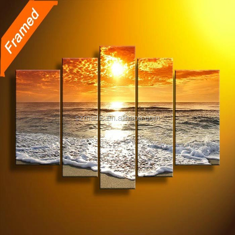 Handmade Oil Painting Frame 5 Panel Sunset Beach Landscape Modern Abstract Acrylic Painting