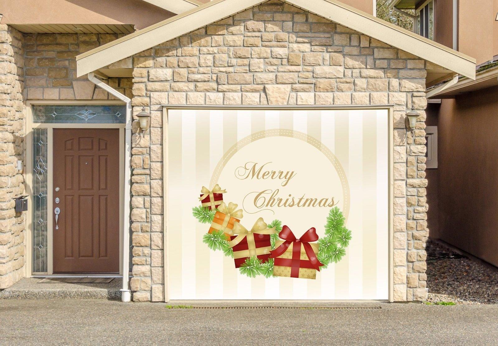 Buy Christmas Decor Banner Single Car Garage Door Murals Covers Outdoor Home Decor Door Cover Billboard Full Color 3d Effect Print Door Decor Decorations Of House Garage Holiday Size 83 X 96
