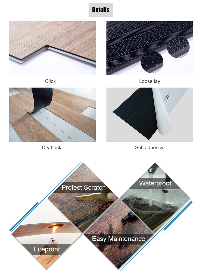 New registered eco friendly formaldehyde free 4mm thick PVC click vinyl flooring tile for indoor