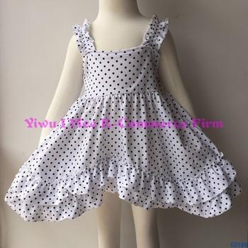 1c9c449afee59 New Summer Frocks Designs Sweet Girls Black Dot Cotton Boutique Sleeveless  Dresses