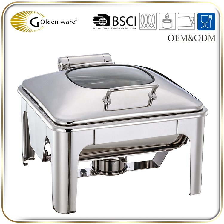 Golden Ware full size stainless steel buffet induction food warmer with holder