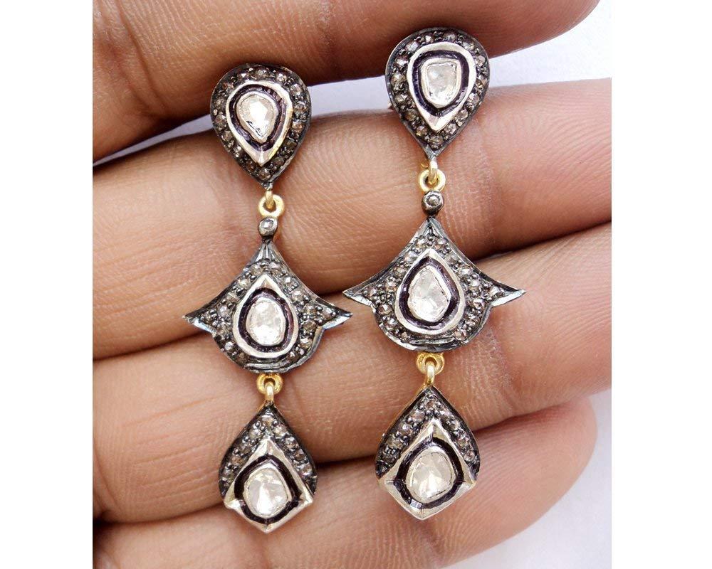 High quality Diamond Earrings - Handmade Pave Diamond Earrings - 925 Sterling Silver - Polki Diamond Earrings - Bridal Choice Earrings - Party wear Diamond Earrings