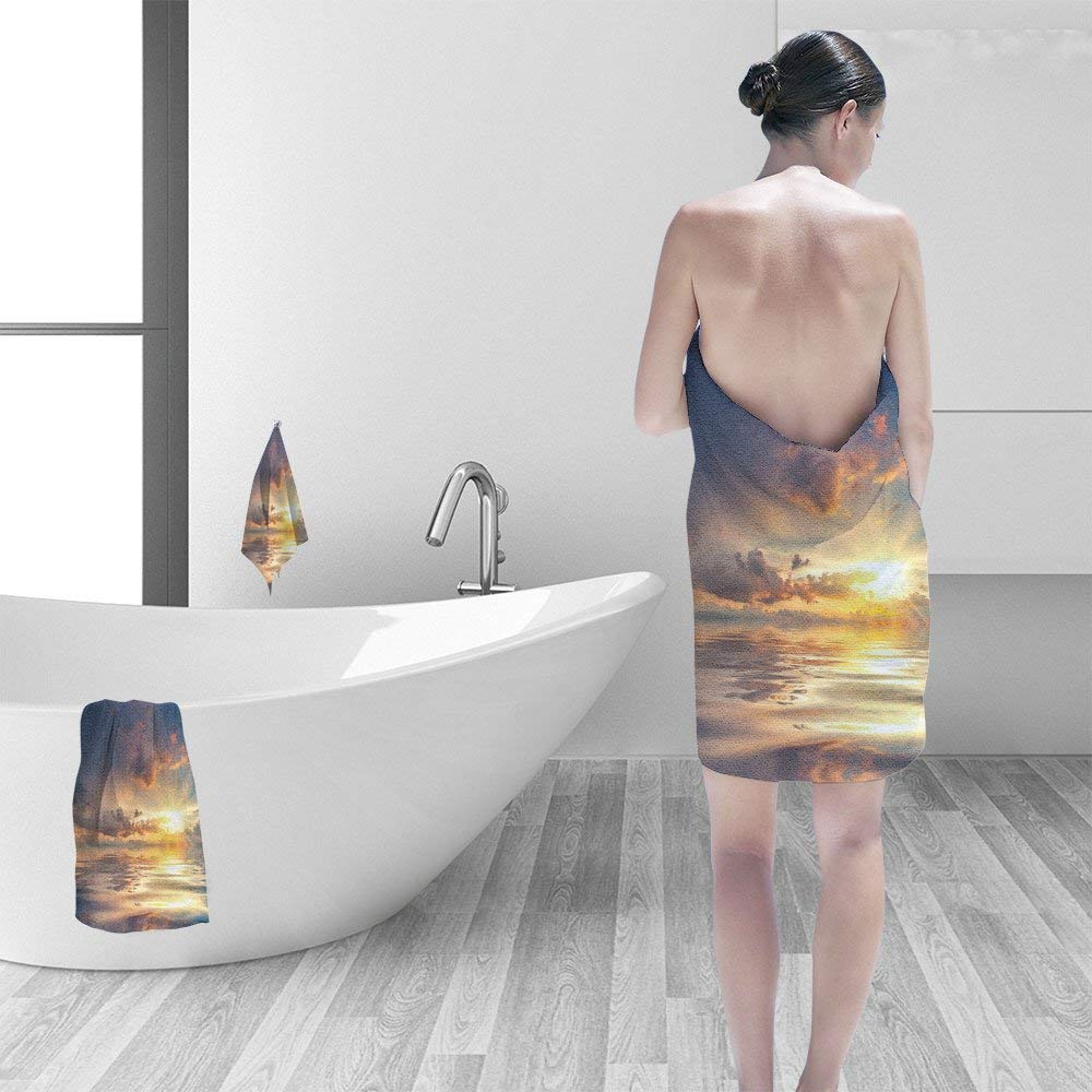 """Nalahomeqq Hand towel set Beautiful sun over sea reflection in water majestic clouds in the sky personality printPolyesternon-mildewpattern custom made19.7""""x19.7""""-13.8""""x27.6""""-31.5""""x63"""""""