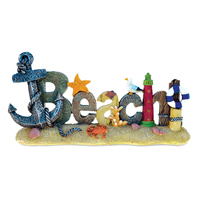 Handcraft Write The Beach Is My Happy Place Plank Board Sign With Starfish And Rhinestone