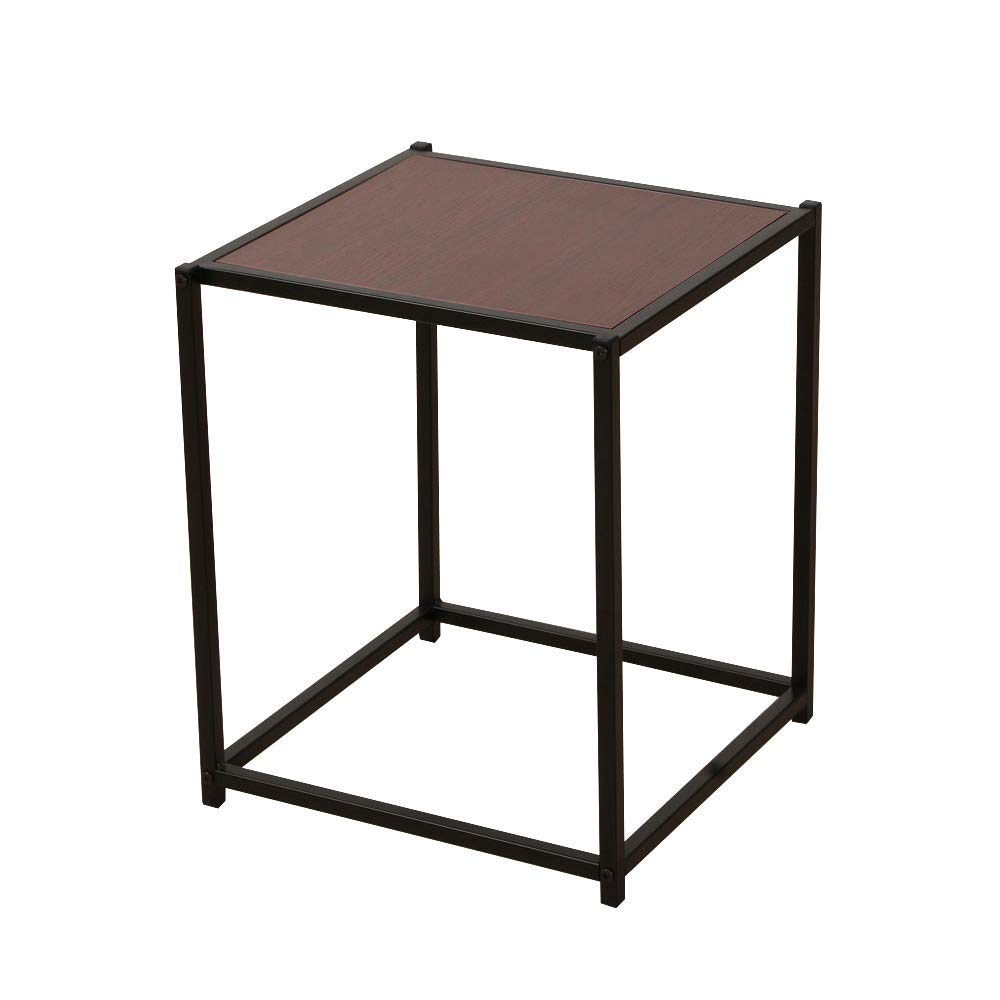 Space Paths Side Table,Modern Studio Collection Soho Dining Table/Office Desk/Computer Desk/Table Only,Morden Industrial End Table with Metal Frame, Easy Assembly,Sapele Color