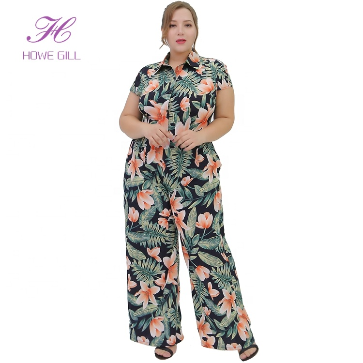 Sommer Palazzo Jumpsuit Outfit Plus Size Weites Bein Floral bedruckte lange Hosen Fat Ladies Overall