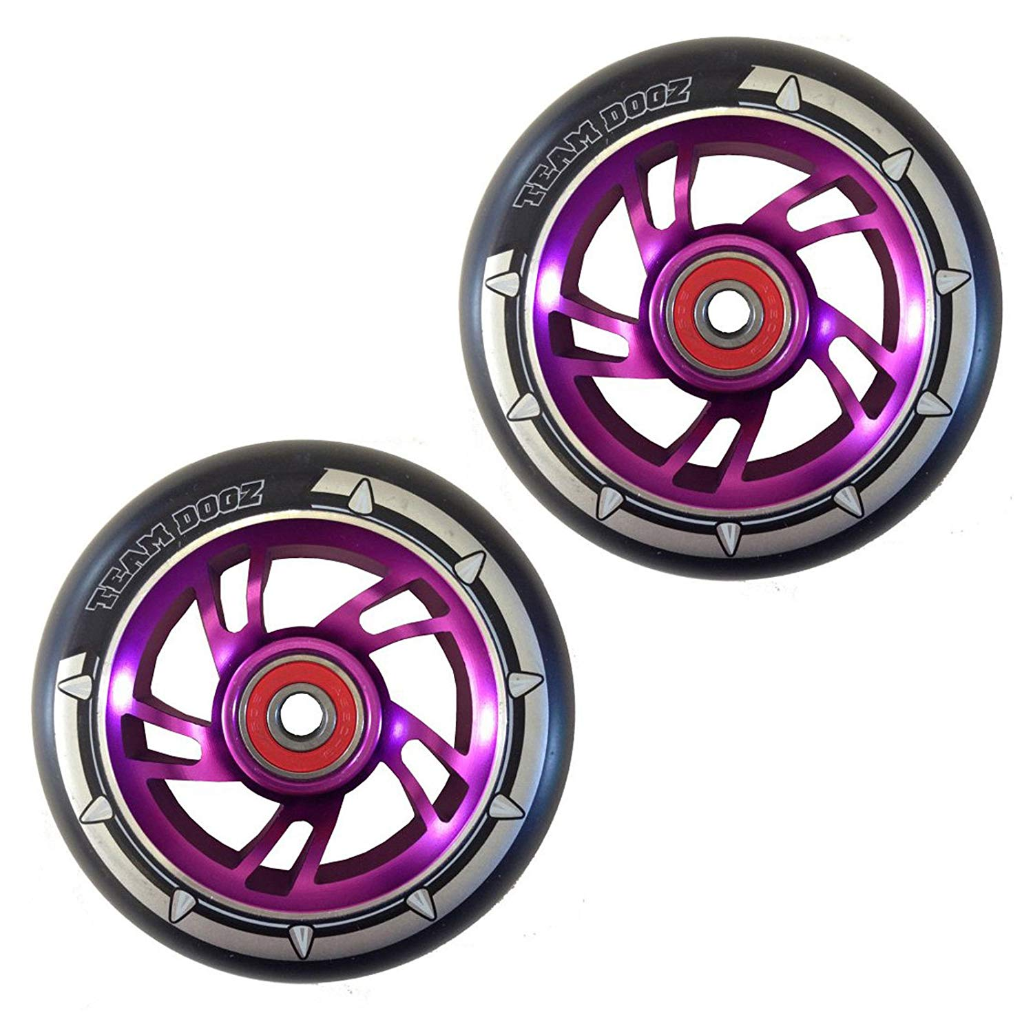 Team Dogz 100mm Swirl Scooter Wheels - Purple Cores Black Tyres (Pair)