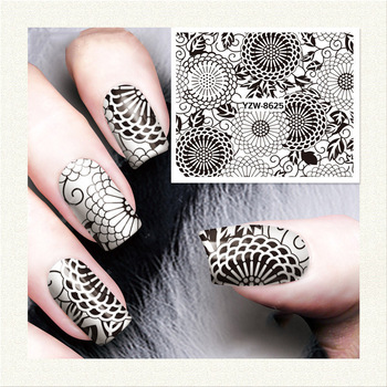 Diy Nail Water Decals Lace Flower Designs Transfer Stickers Nail Art