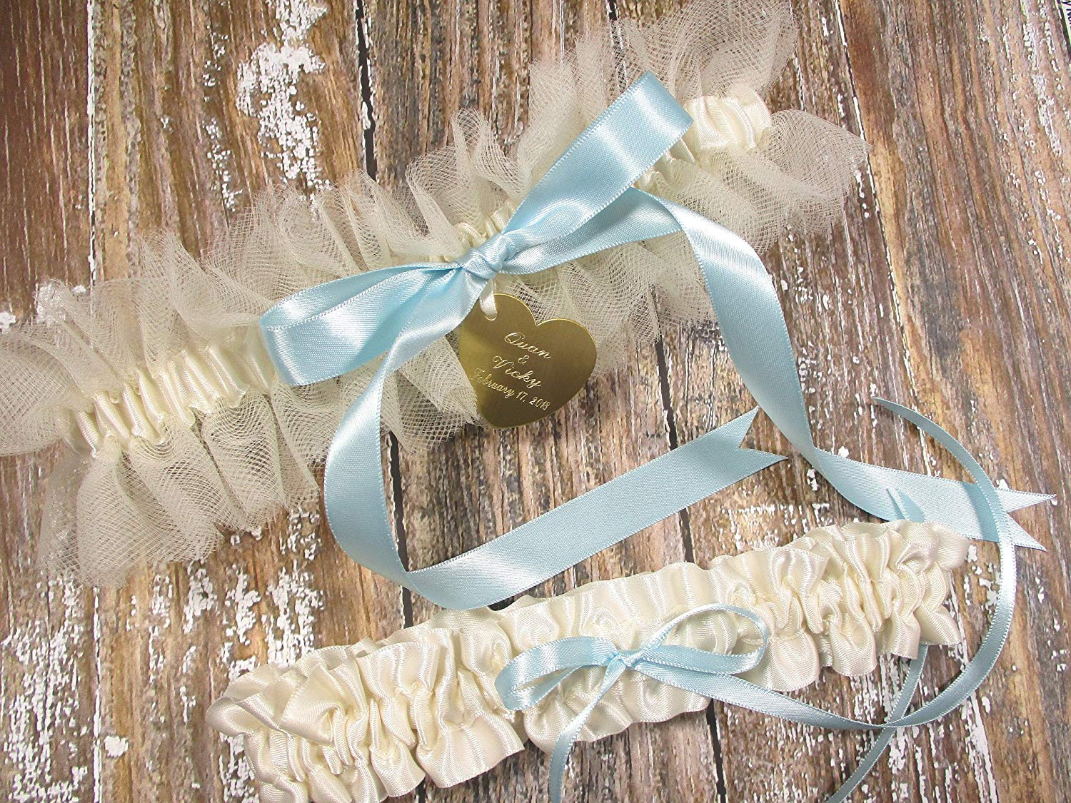 5e5c75989 Get Quotations · Wedding Garter Set in Ivory Tulle with a Something Blue  Bow and Personalized Engraving