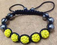 Yellow Color good quality Shambala Bracelet Handmade Knitting Woven Ball Crystal Bead Bangle