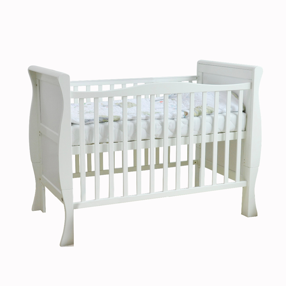 - 120x60 Wooden Sleigh Beds Cot Solid Wooden Cot Baby Bed