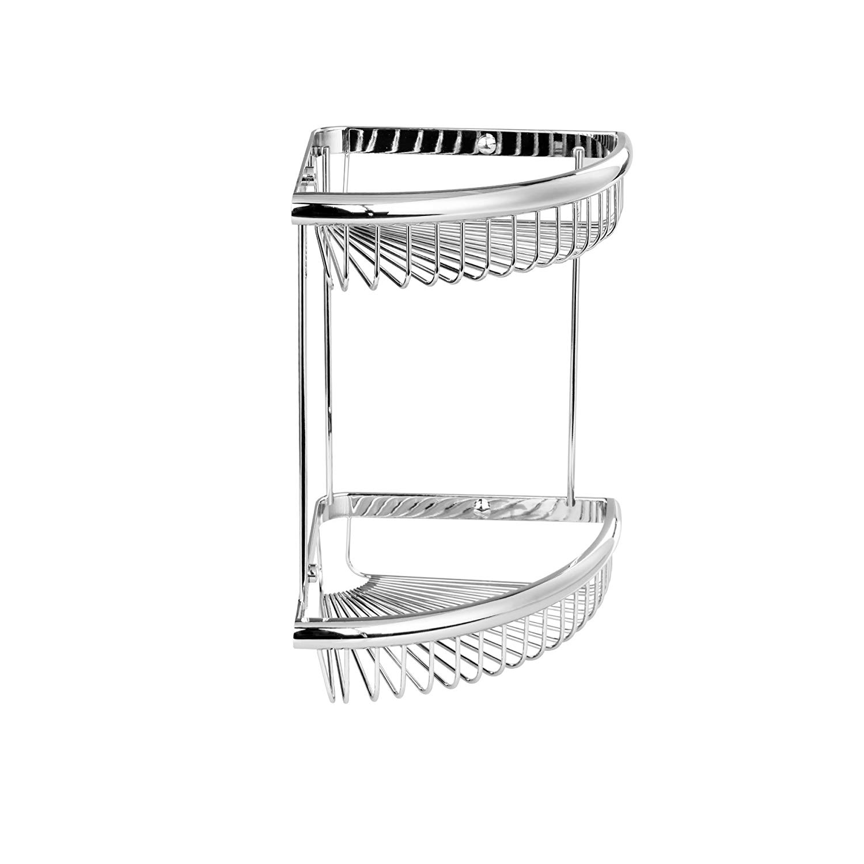 "Maykke Dawn 9"" Wall Mount Double Corner Shower Basket Shelf | 2 Tier Wire Caddy for Shampoo, Conditioner, Soap, Razor Storage | Solid Brass Bathroom Holder & Organizer | Polished Chrome, XYA1070101"