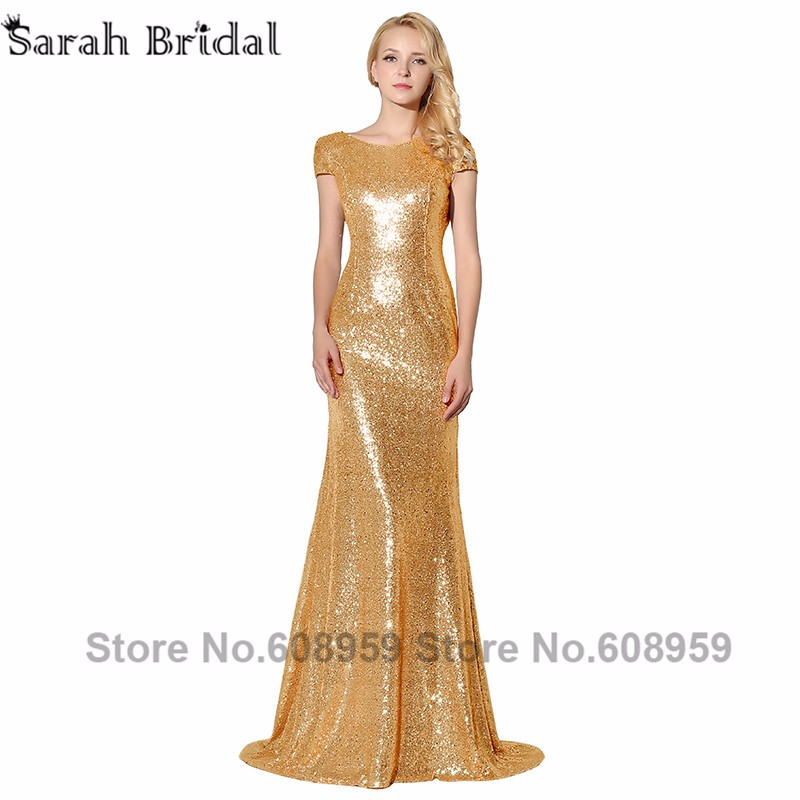 Sexy Cowl Backs Rose Gold Sequined Evening Dresses New Real Pictures Backless  Mermaid Party Gown with Sleeves Vestido SLD347 146504389ade