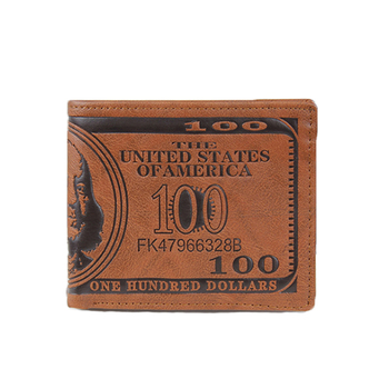 Promotional Cheap Money Clip Wholesale Custom Bag Design Vintage Dollar Pattern Brown Leather Wallet Men Purse
