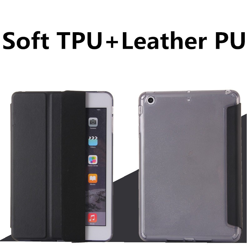 For iPad Air 6 Protective Leather Case Side Flip Stand TPU+PU Leather Cover Case for iPad Air 2
