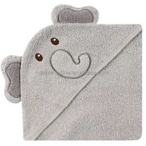 Embroidery Face Brand LOGO cartoon cute 100% cotton gery elephant bamboo hooded baby bath towel