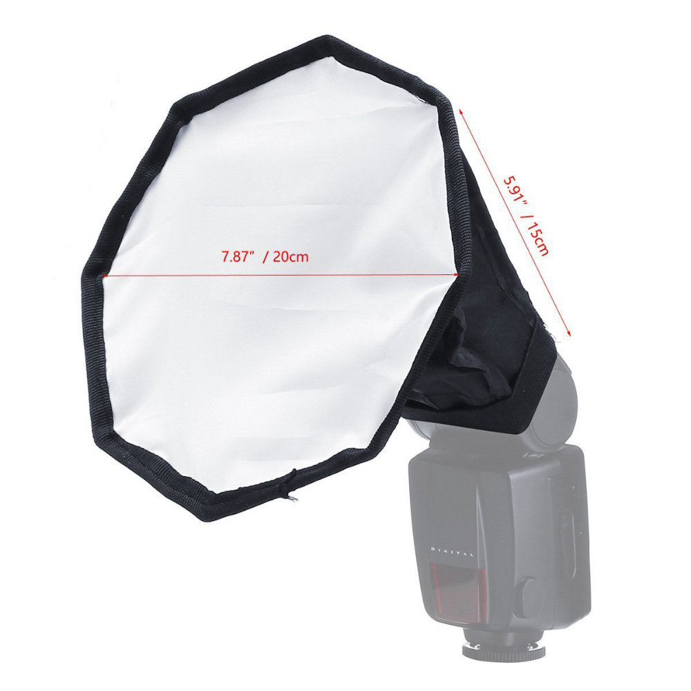 20cm Universal Flash Diffuser Softbox Silver Reflector Mini Professional Photo Diffuser Soft Light Box for Canon Nikon