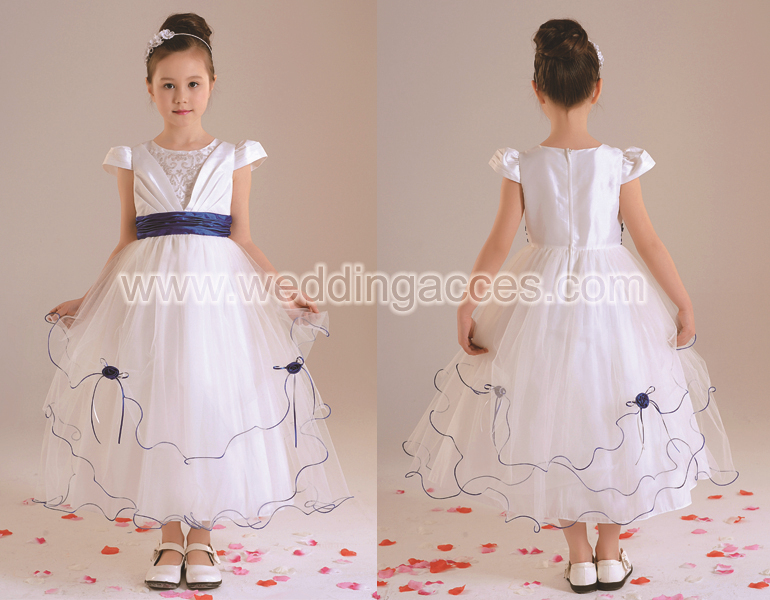 D30004 Bridal Real Sample Appliqued Ball Gown White Flower Girl Dress With Pink Ribbon Children Party Dresses
