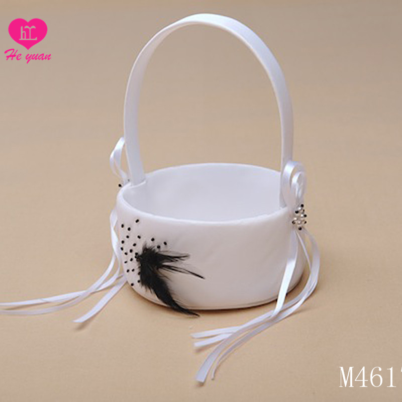 M4617 Happy wedding basket decorations satin lace flower girl basket