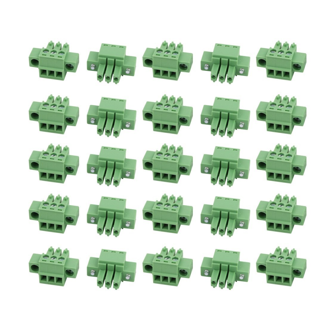 uxcell 25Pcs LC1M AC300V 8A 3.5mm Pitch 3P PCB Terminal Block Wire Connection