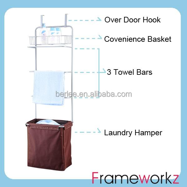Lovely Over Door Hanging Towel Rack/laundry Hamper/laundry Sorter With Towel Rack