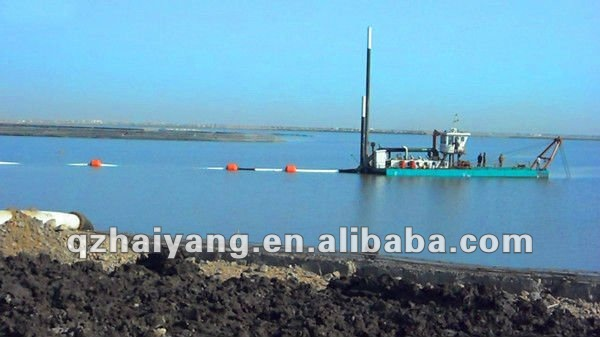 sand mining dredger with pipelines