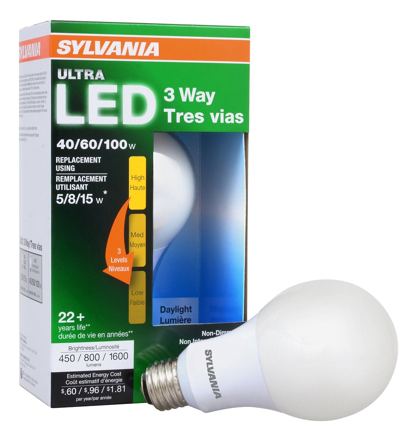 SYLVANIA ULTRA 3-WAY LED Light Bulb 40/60/100W Replacement, Daylight 5000K, 25,000 hour life - A21, Medium Base, 74086 - Energy Star (4.5/8.5/15W)