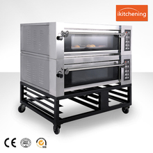 Hot Sale Ikitchening Gas Pizza Double Deck Oven / bakey gas oven with steam