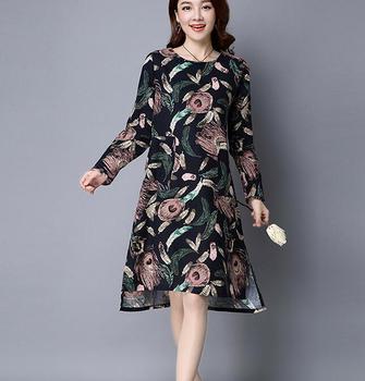 Zm32354a Y Women Linen One Piece Dresses Simple Flower Print Shirts Design