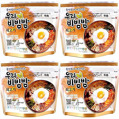 MRE Meals Woori's Ready to Eat Bibimbap Korean Mixed Rice Bowl 100g (3.53oz) 335 Kcal Instant Rice Emergency Rice Food (Beef, 4 Pack)