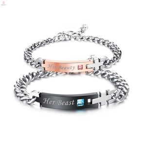 Fashion Hot Sale Stainless Steel His Beauty And Her Beast Couple Bracelets Jewelry