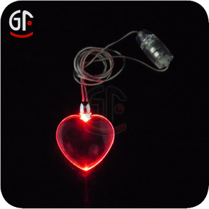 Valentine Day Wedding Decorations Red Heart Shape Light Up LED Pendant Necklaces