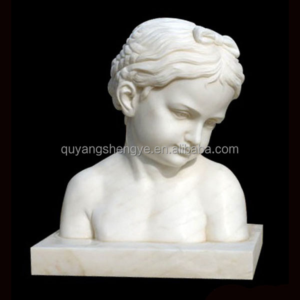 stone child head bust sculpture