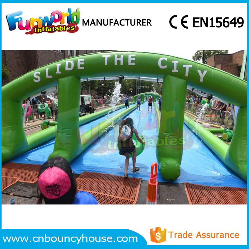 Outdoor 1000ft long Inflatable City Slide Inflatable slip and slide for adults