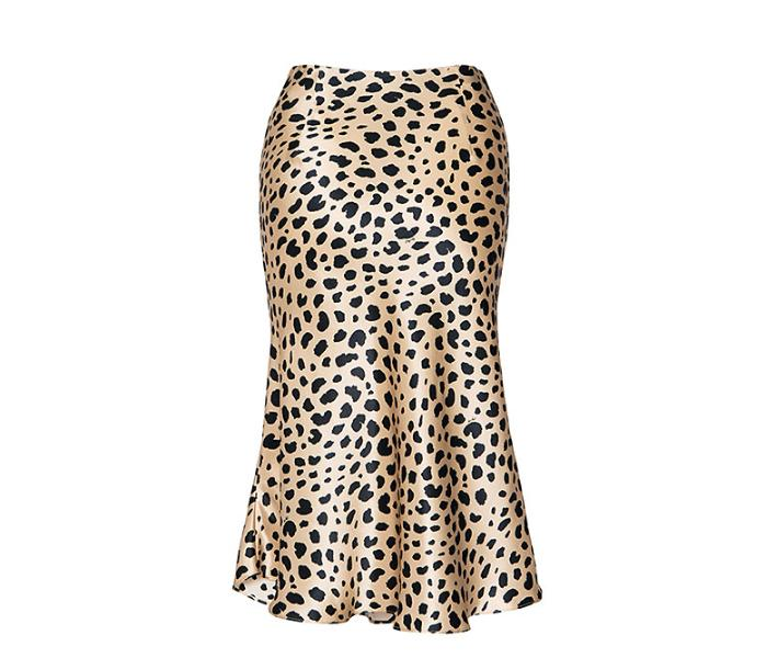 2019 Fashion Party Girl Skirt Dress Sexy Leopard Print Fishtail Women satin mermaid hem High Waist Skirt, Black