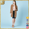 Fashion Style Custom Suede Collarless Long Women Coat