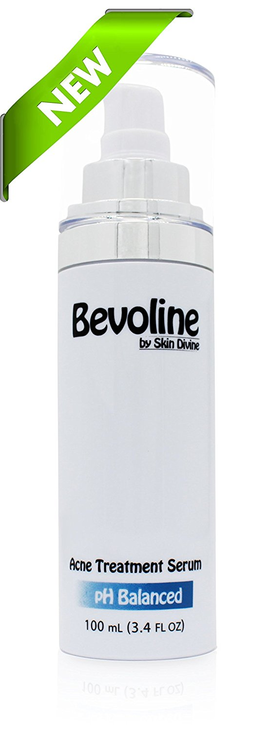Bevoline Acne Serum (100 mL) - Cutting edge acne treatment for Pimples, Bacne, and Light Acne Scarring - The lotion dries like a clear mask leaving your skin rid of acne and blemishes.