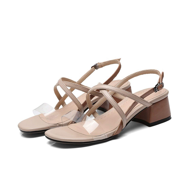 70210ac1777d Get Quotations · Collocation-Online Sandals Women Shoes Summer Sandals  Transparent PVC Sexy high Heels Apricot Dress Gladiator