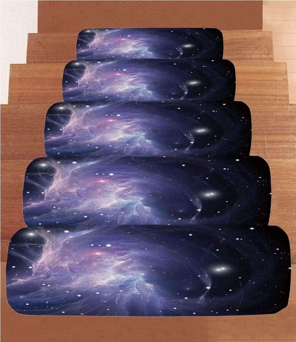 """Non-Slip Carpets Stair Treads,Space Decorations,Space Nebula in The Galaxy Complex Energy Movements Cosmos Print,Navy Purple,(Set of 5) 8.6""""x27.5"""""""